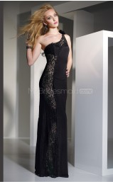 Black Sheath Sweep Train Lace One Shoulder Ball Dresses (NZJT06520)