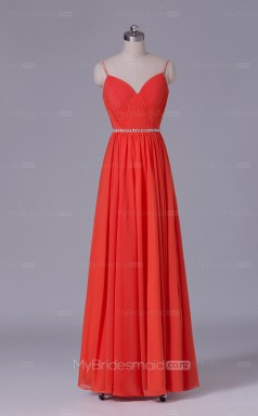 Long Straps A Line Drak Orange Chiffon Wholesale Clearance Price Bridesmaid Dress BD-NZS486