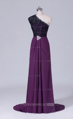 Long One Shoulder A Line Grape Chiffon Wholesale Clearance Price Bridesmaid Dress BD-NZS514