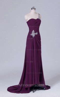 One Shoulder A Line Long Chiffon Grape Wholesale Clearance Price Bridesmaid Dress BD-NZS515