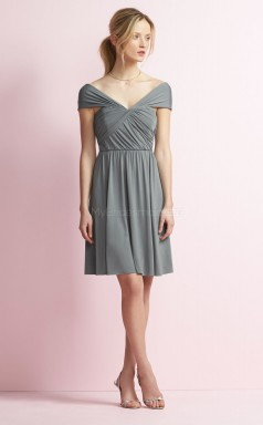 Classic Satin Chiffon Off The Shoulder Short DarkSilver A Line Bridesmadi Dress with Side Draping BDNZ1601