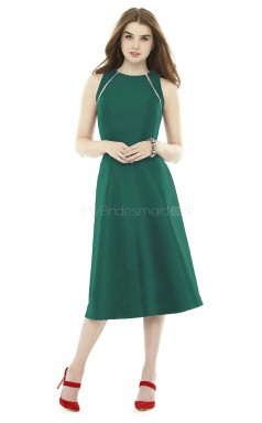 Classic Jewel A Line Tea Length Green Stretch Satin Bridesmaid Dress BDNZ1623