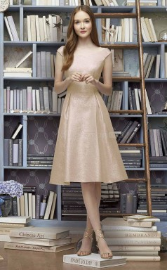 Informal ChampagneGold A Line Off The Shoulder Tea Length Leather Bridesmaid Dress BDNZ1629