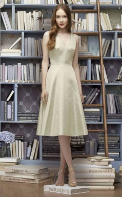 Modern LightGold Tea Length V-neck Chiffon A Line Bridesmaid Dress BDNZ1631