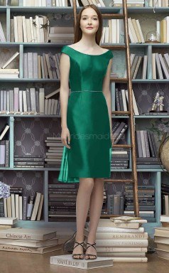 Chic Short DarkJade Off The Shoulder Stretch Satin Bridesmaid Dress BDNZ1633