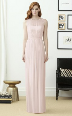 Glamorous Chiffon Scoop Long Ivory A Line Bridesmaid Dress BDNZ1646