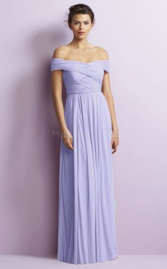 Adult Off The Shoulder A Line Long Lavender Chiffon Bridesmaid Dress BDNZ1650