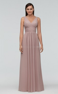 Modern Chiffon DarkGray A Line Long Bridesmaid Dress BDNZ1653