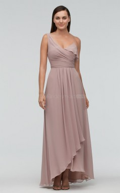 Elegant Chiffon V-neck Hi-Lo A Line DarkGray Bridesmaid Dress BDNZ1654