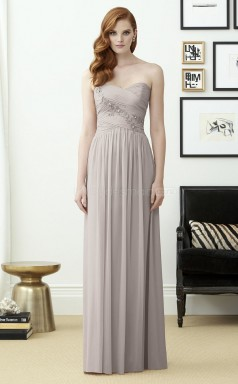 Vintage Silver Long Sweetheart Chiffon A Line Bridesmaid Dress BDNZ1658