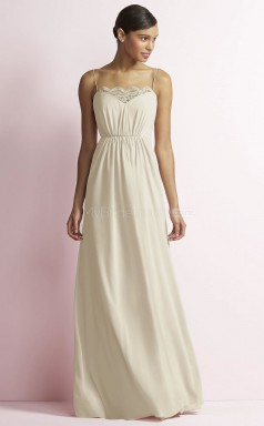 Adult Ivory Straps Long A Line Chiffon Bridesmaid Dress BDNZ1661