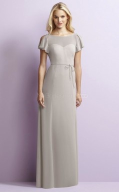 Informal Chiffon Silver Sheath Long Bridesmaid Dress BDNZ1662