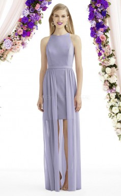Elegant Lavender Sheath Jewel Hi-Lo Chiffon Bridesmaid Dress BDNZ1665
