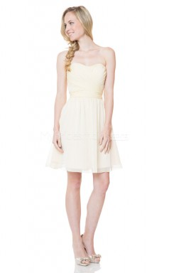 Cornsilk Mini Chiffon Sweetheart Neck Bridesmaid Dress NZBD1864
