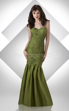 Clover Satin Mermaid Sweetheart Long Bridesmaid Dresses (NZBD06214)