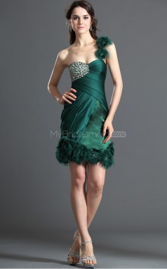 Dark Green Chiffon Sheath One Shoulder Short Bridesmaid Dresses (NZBD06390)