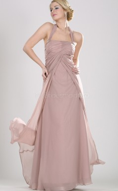 Nude Pink Chiffon A-line Halter Long Bridesmaid Dresses (NZBD06466)