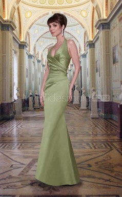 Sage Stretch Satin Mermaid Halter Long Bridesmaid Dresses (NZBD06552)