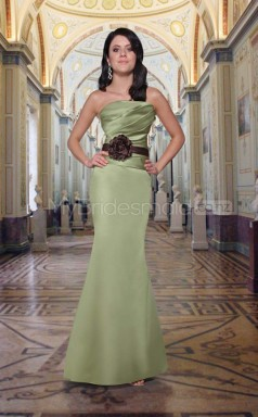 Sage Satin Mermaid Strapless Long Bridesmaid Dresses (NZBD06555)