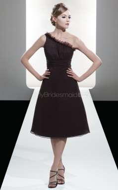Chocolate Chiffon A-line One Shoulder Tea-length Bridesmaid Dresses (NZBD06607)