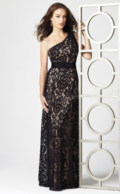 Black Lace Sheath One Shoulder Long Bridesmaid Dresses (NZBD06704)