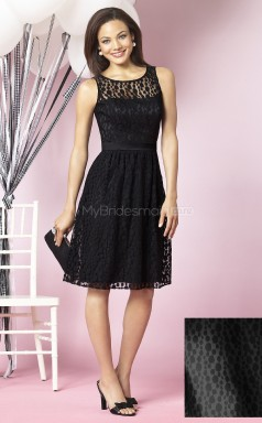 Black Lace A-line Scoop Neckline Knee Length Bridesmaid Dresses (NZBD06705)
