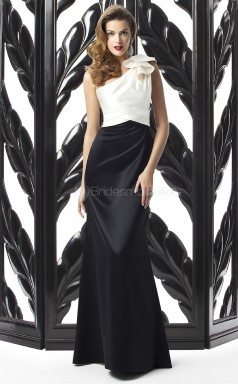 Black Satin Mermaid One Shoulder Long Bridesmaid Dresses (NZBD06720)