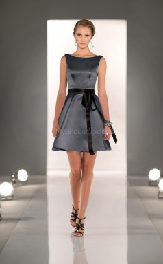 Gray Satin A-line Bateau Neckline Short Bridesmaid Dresses (NZBD06815)
