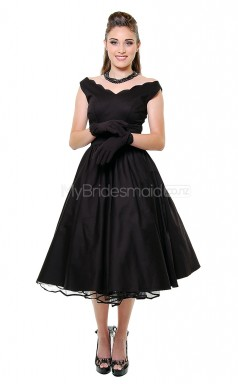 Black Satin Tea Length Vintage Bridesmaid Dresses (NZBD06900)