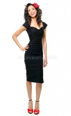 Black Satin Knee Length Vintage Bridesmaid Dresses (NZBD06902)