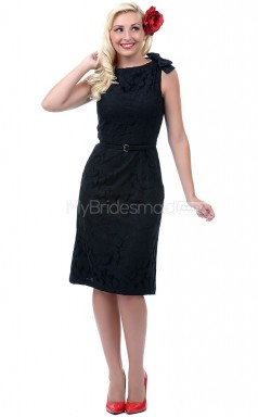 Black Lace Knee Length Vintage Bridesmaid Dresses (NZBD06905)