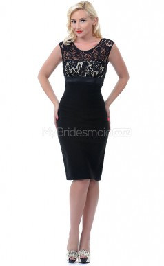 Black Lace , Chiffon Knee Length Vintage Bridesmaid Dresses (NZBD06906)