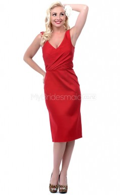 Red , Black Satin Knee Length Vintage Bridesmaid Dresses (NZBD06908)