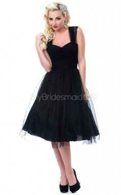 Black Tulle Knee Length Vintage Bridesmaid Dresses (NZBD06909)