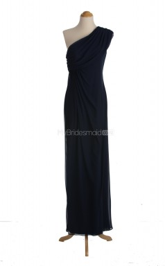 Charming Dark Navy Column/Sheath One Shoulder Chiffon Long Bridesmaid Dresses (BSD002)
