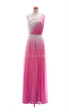 Graceful Fuchsia A Line One Shoulder Chiffon Long Bridesmaid Dresses (BSD013)