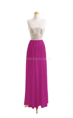 Formal Fuchsia A Line One Shoulder Chiffon Long Bridesmaid Dresses (BSD029)