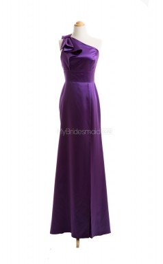 Luxurious Grape Mermaid One Shoulder Satin Long Bridesmaid Dresses (BSD036)