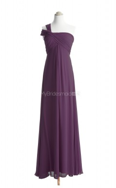 Pretty Grape A Line One Shoulder Chiffon Long Bridesmaid Dresses (BSD039)