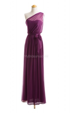 Gorgeous Grape A Line One Shoulder Chiffon Long Bridesmaid Dresses (BSD042)