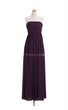 Vintage Grape A Line Strapless Chiffon Long Bridesmaid Dresses (BSD046)