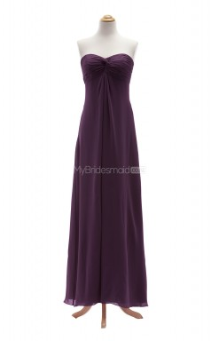 Vogue Grape A Line Sweetheart Chiffon Long Bridesmaid Dresses (BSD047)