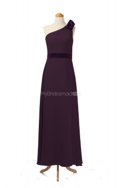 Classic Grape A Line One Shoulder Chiffon Long Bridesmaid Dresses (BSD049)