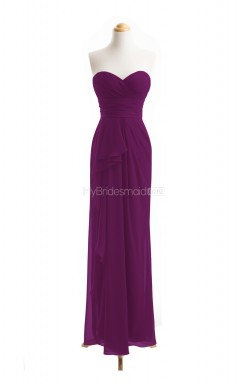 Affordable Grape Column/Sheath Sweetheart Chiffon Long Bridesmaid Dresses (BSD050)