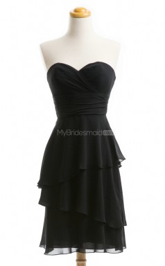 Amazing Black A Line Sweetheart Neckline Short Chiffon Bridesmaid Dresses (BSD098)