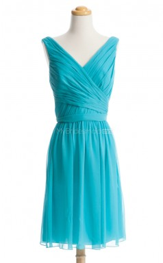 Hot Pool A Line V-Neck Chiffon Bridesmaid Dresses (BSD104)