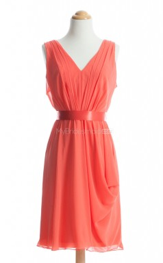Fashion Orange A Line V-Neck Chiffon Bridesmaid Dresses (BSD119)