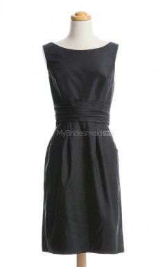 Lovely Black A Line Bateau Taffeta Bridesmaid Dresses (BSD125)