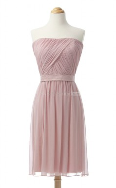 Luxurious Pearl Pink A Line Strapless Chiffon Bridesmaid Dresses (BSD139)