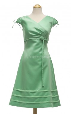 Pretty Lime Green A Line V-Neck Satin Bridesmaid Dresses (BSD150)